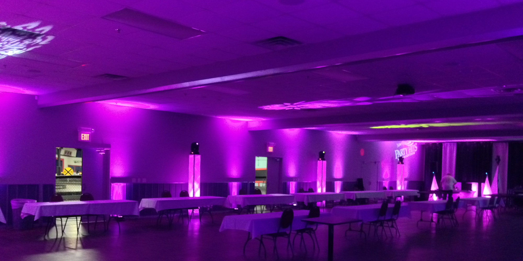 Purple Uplighting - Party Hits Music and Light Show - Wisconsin DJ Dance Weddings Events